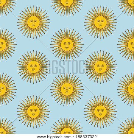Sun pattern on the blue background. Vector illustration