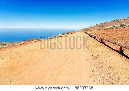 empty mountain rural road in national park of Teide, Tenerife island, Spain