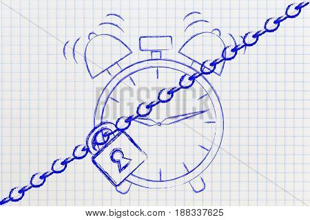 Alarm Clock With Lock And Chain