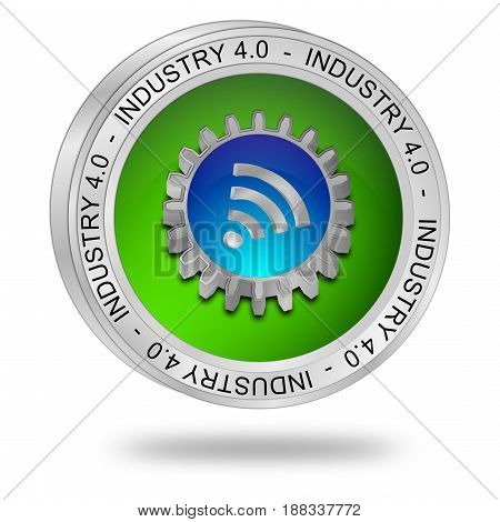 green blue Industry 4.0 button - 3D illustration
