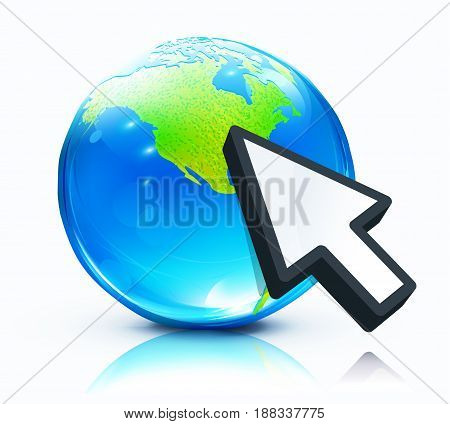 Vector illustration of cursor mouse hand pointing to glossy earth map globe