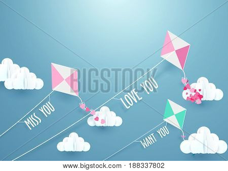 Paper art Fly Kite and Clouds on a Blue Sky. Love concept background