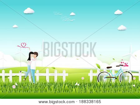 Paper art Couple with bicycle in garden romantic love concept. Valentines day background