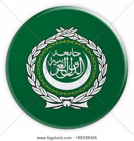 News Concept Badge: Arab League Flag Button 3d illustration on white background
