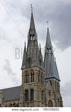 towers of Notre-Dame-en-Vaux church in Chalons-en-Champagne, France