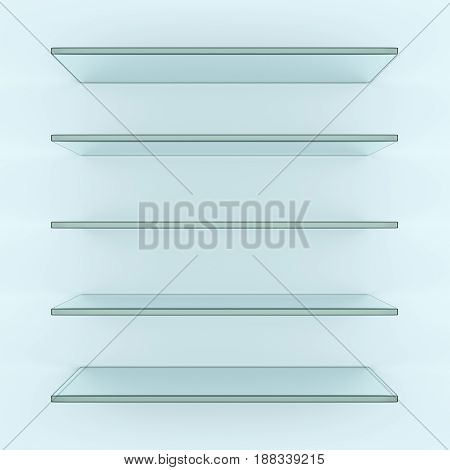Five alike glass shelves on white wall. 3d illustration. Template for your design