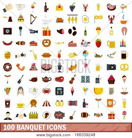 100 banquet icons set in flat style for any design vector illustration