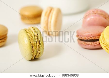Macarons On A White Background