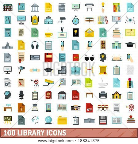 100 library icons set in flat style for any design vector illustration