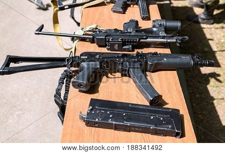 Samara Russia - May 27 2017: Russian weapons. Samples of Russian small arms