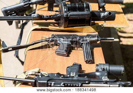 Samara Russia - May 27 2017: Russian weapons. Samples of Russian small firearm