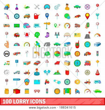 100 lorry icons set in cartoon style for any design vector illustration