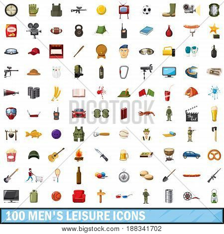 100 men leisure icons set in cartoon style for any design vector illustration