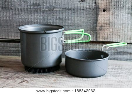 Tourist Saucepan, Frying Pan, Kettle. Utensils For Hikes.