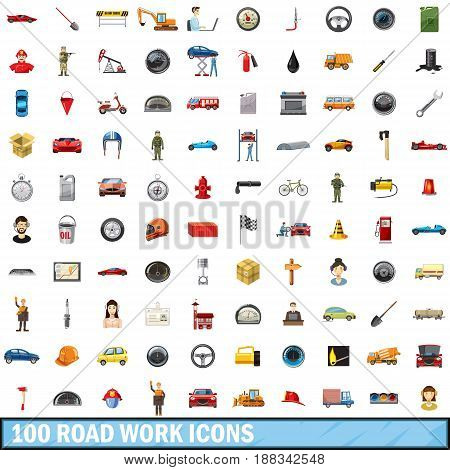 100 road work icons set in cartoon style for any design vector illustration