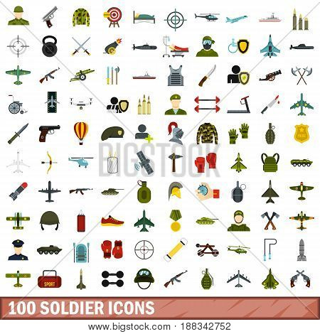 100 soldier icons set in flat style for any design vector illustration