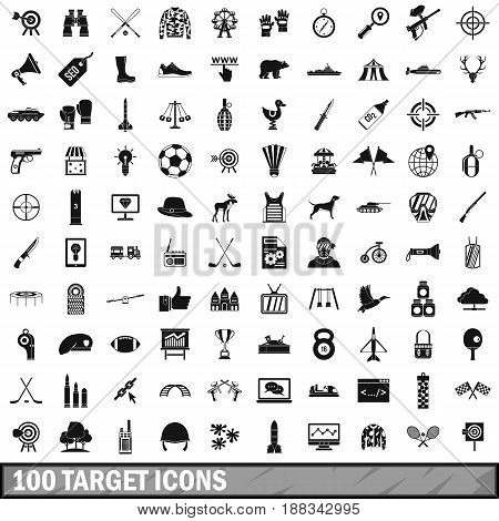 100 target icons set in simple style for any design vector illustration