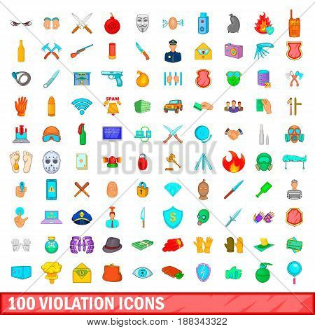 100 violation icons set in cartoon style for any design vector illustration