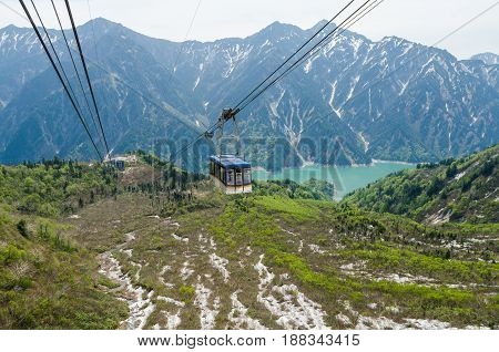 Cable car at japan alps tateyama kurobe alpine route