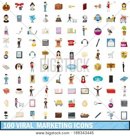 100 viral marketing icons set in cartoon style for any design vector illustration