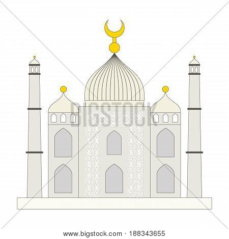 Islamic mosque flat cartoon style. Ramadan kareem