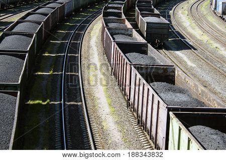 rail cars loaded with coal a train transports coal.