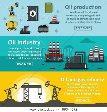 Oil rig industry banner horizontal concept set. Flat illustration of 3 oil rig industry vector banner horizontal concepts for web