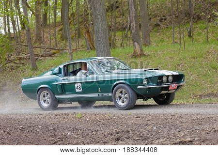 STOCKHOLM SWEDEN - MAY 22 2017: Green Shelby GT-350 classic car from 1967 driving on a country road in the public race Gardesloppet in the forests at Djurgarden Stockholm Sweden. May 22 2017