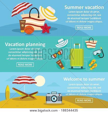 Summer rest banner horizontal concept set. Flat illustration of 3 summer rest vector banner horizontal concepts for web
