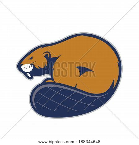 Clipart picture of a beaver cartoon mascot logo character