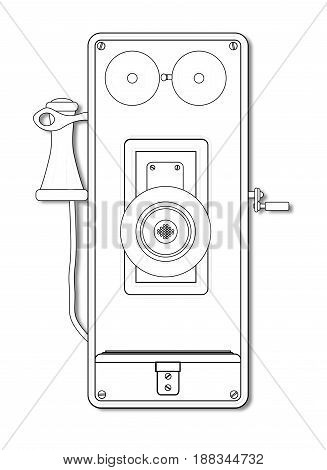 An early model wall mounted telephone with bells ear and mouthpiece in line and isolated