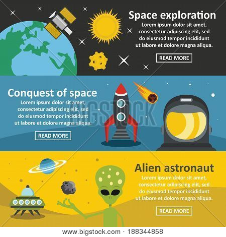 Space travel banner horizontal concept set. Flat illustration of 3 space travel vector banner horizontal concepts for web