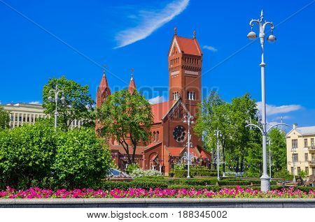 Church Of Saints Simon And Helena (red Church) In Minsk, Belarus.