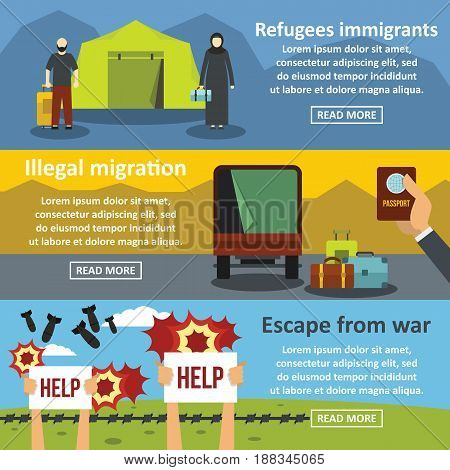 Refugees migrate tools banner horizontal concept set. Flat illustration of 3 refugees migration vector banner horizontal concepts for web.