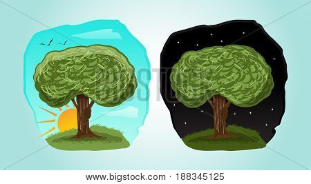 playful cartoon tree illustration with 2 different time : day, night .