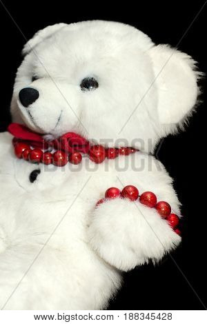 Teddy Bear Toy On Black Background. Fun Child Present