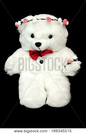 White Toy Teddy Bear Present For A Child. Black Background