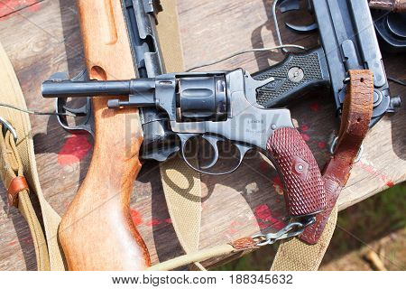 VOLGOGRAD RUSSIA - April 22 2017: The gun a revolver of the Tula small-arms factory is presented in the museum