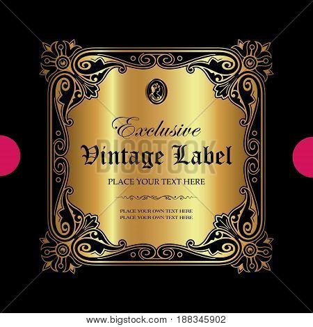 Luxury ornamental gold label - vector design