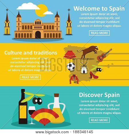 Spain travel banner horizontal concept set. Flat illustration of 3 Spain travel vector banner horizontal concepts for web.