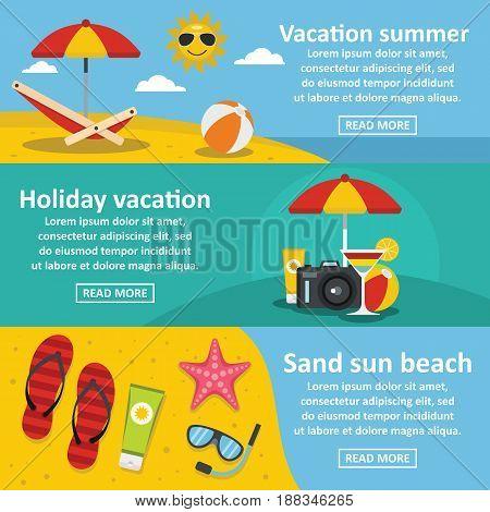 Summer sea rest horizontal concept set. Flat illustration of 3 summer sea rest vector banner horizontal concepts for web.