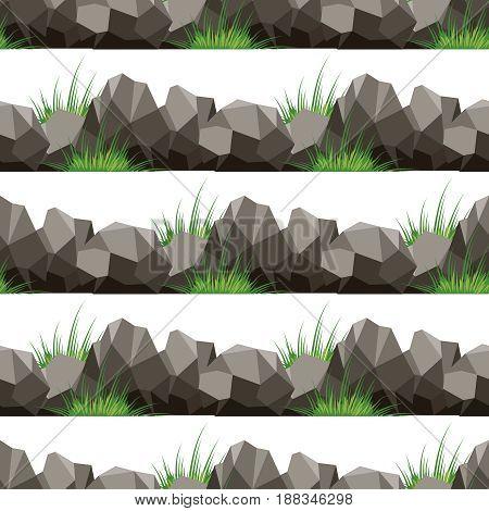 Cartoon grass and stones seamless pattern design. Vector illustration