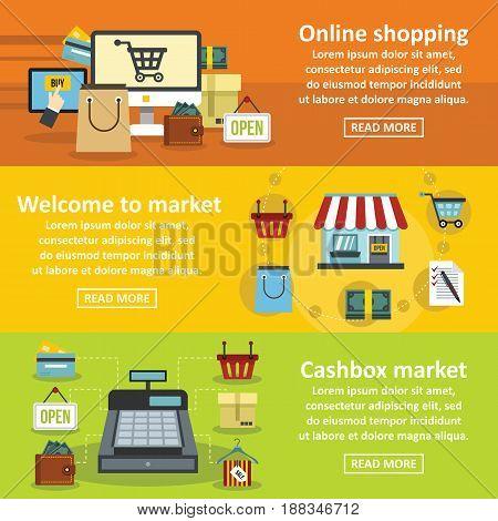Shopping market banner horizontal concept set. Flat illustration of 3 shopping market vector banner horizontal concepts for web.
