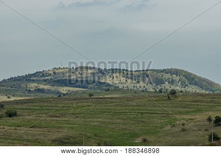 Beautiful view of Plana mountain with peak  Manastirishte and glade, Bulgaria