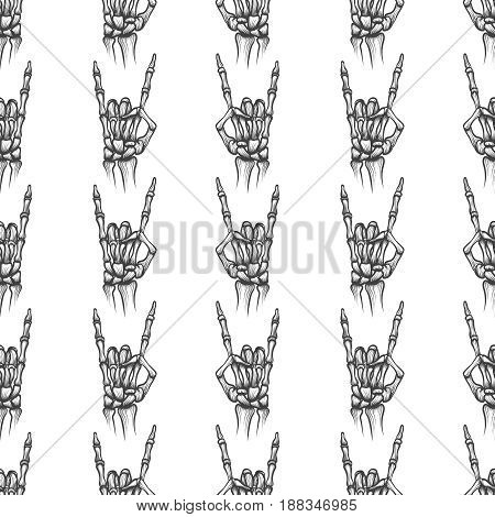 Heavy metal bones hand horns seamless pattern, vector illustration