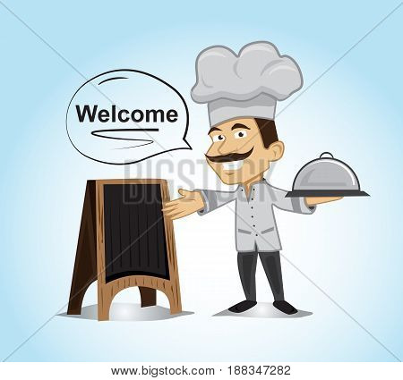 chef character pointing to wood menu board with holding on his left hand a dish cover