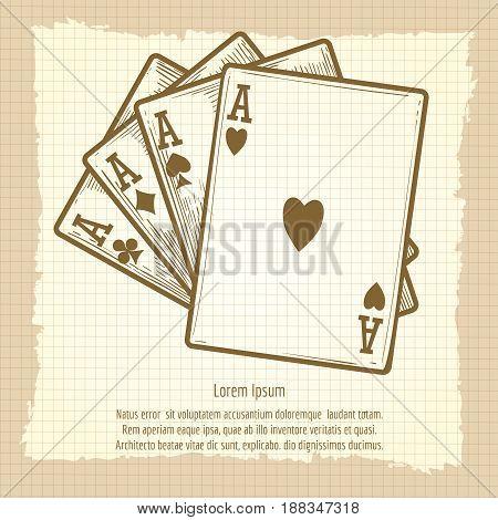Hand drawn black jack cards compostion. Vector four aces vintage poster