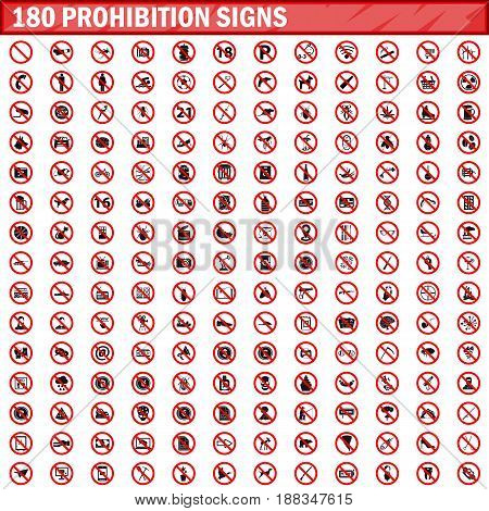 180 prohibition signs isolated on white background. Big set prohibition icons symbols vector illustration