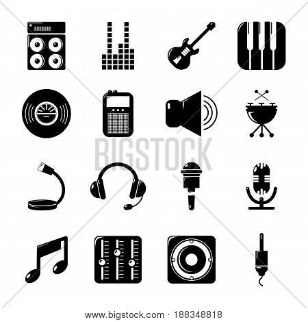 Recording studio symbols icons set. Simple illustration of 16 recording studio symbols vector icons for web