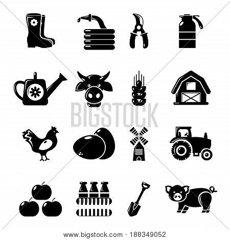 Farm agricultural icons set. Simple illustration of 16 farm agricultural vector icons for web
